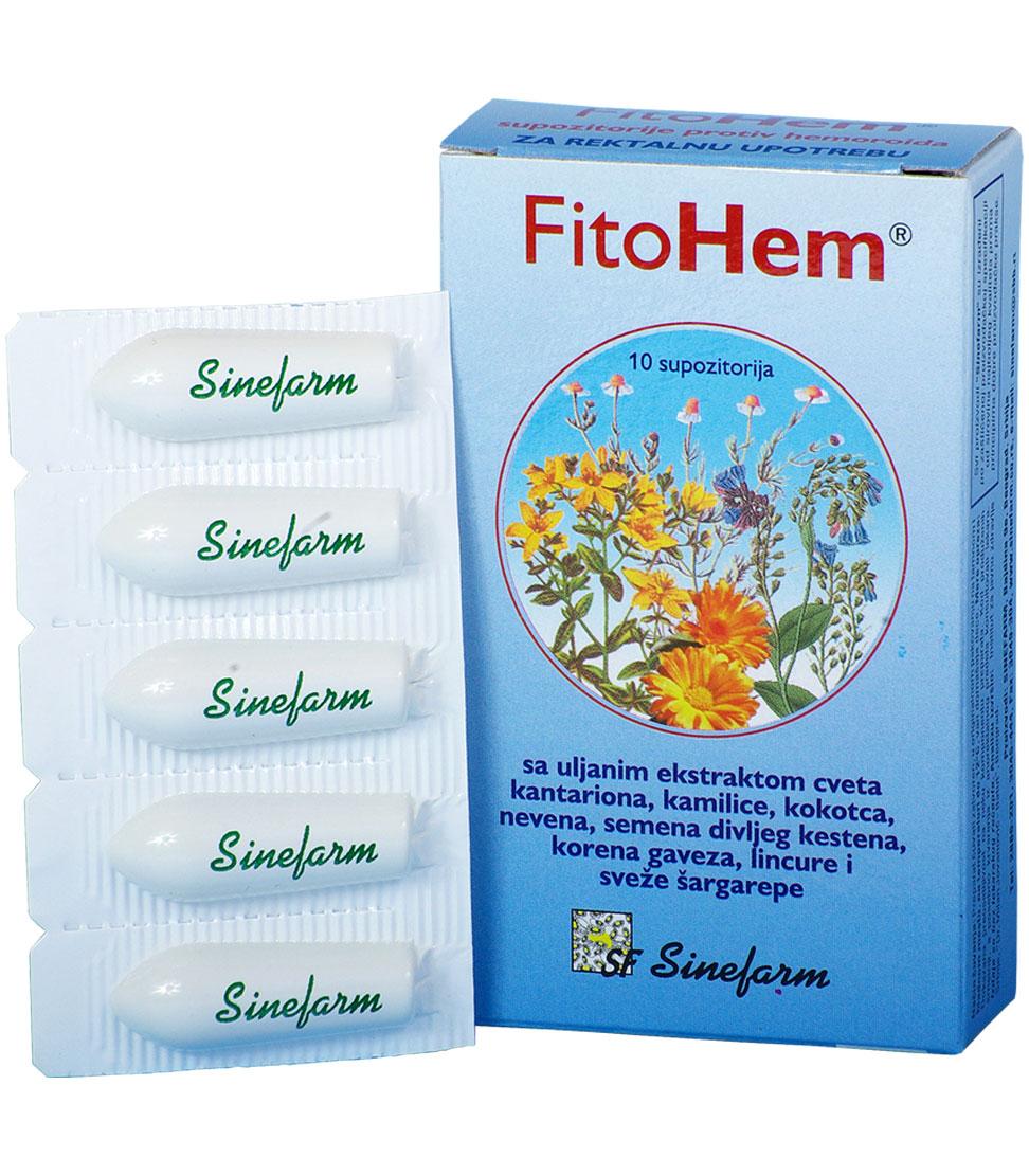 Supozitorije protiv HEMOROIDA sa biljnim <br>ekstraktima i vitaminima A, D i E-10 kom. <br>FitoHem