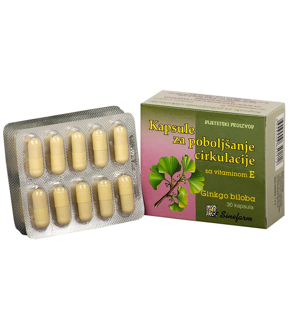 Kapsule za poboljšanje cirkulacije <br>sa vitaminom E-30 kom. GINKO