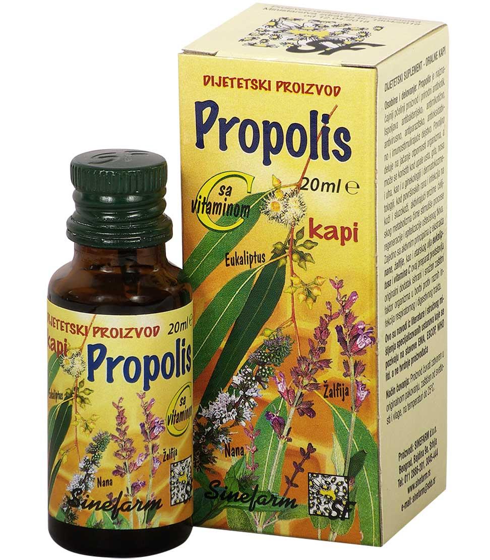 Propolis kapi sa nanom, žalfijom, eukaliptusom <br>i C vitaminom-20 ml-e